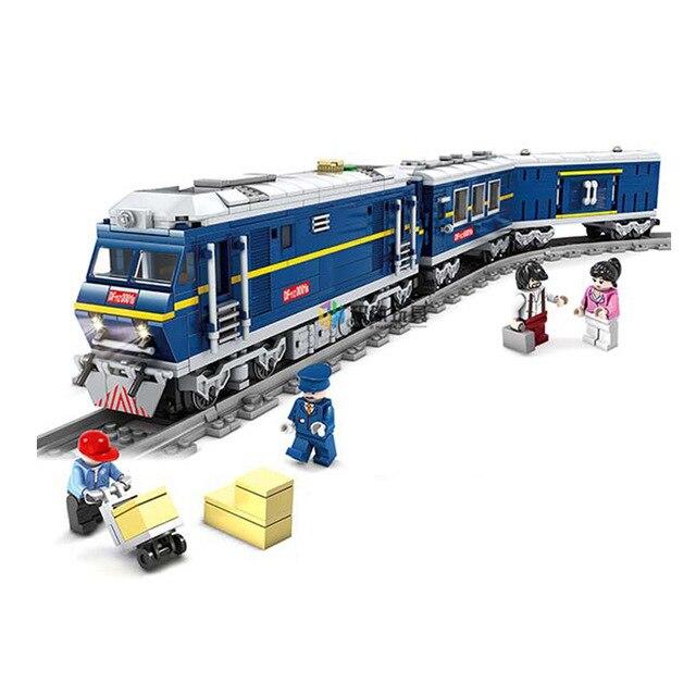 Kazi Città Treno Ferroviario Treno Cargo Con Le Tracce a Motore Diesel Modello Brinquedos Technic Blocchi di Costruzione Giocattoli Per Bambini-in Blocchi da Giocattoli e hobby su  Gruppo 2