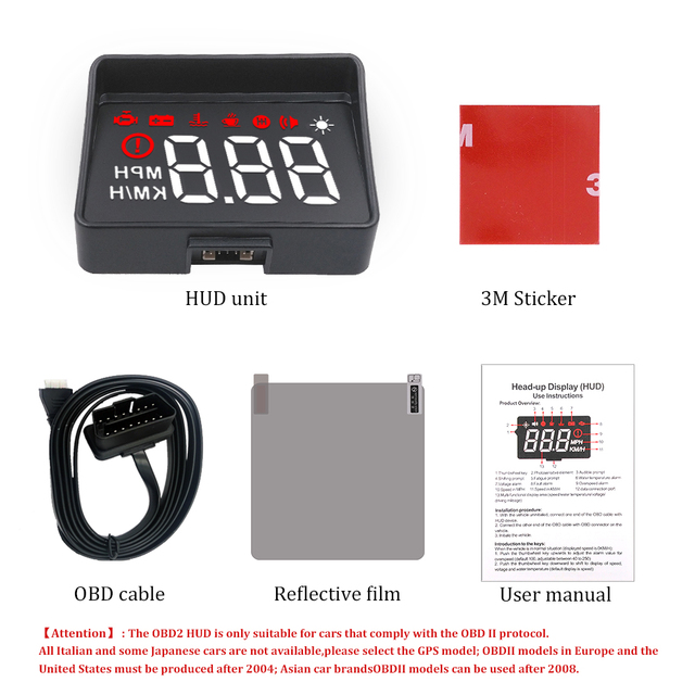 Newest A100S Car HUD Head-Up Display OBD2 II EUOBD Overspeed Warning System Projector Windshield Auto Electronic Voltage Alarm