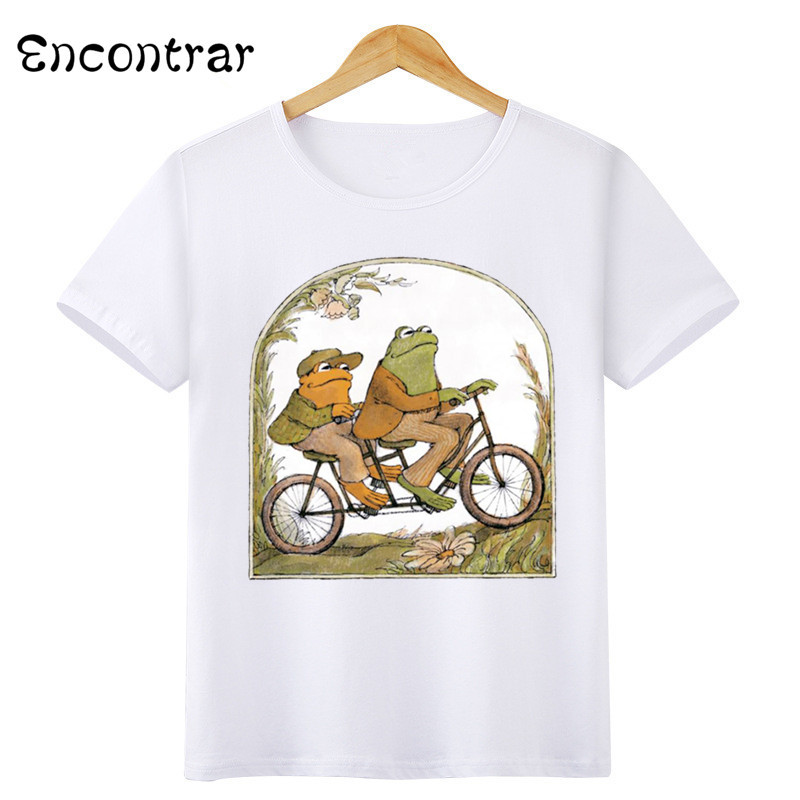 Kids Two Frog Riding  Design Baby Boys/Girl TShirt Kids Funny Short Sleeve Tops Children Cute T-Shirt,HKP3159 ice cream cart toy