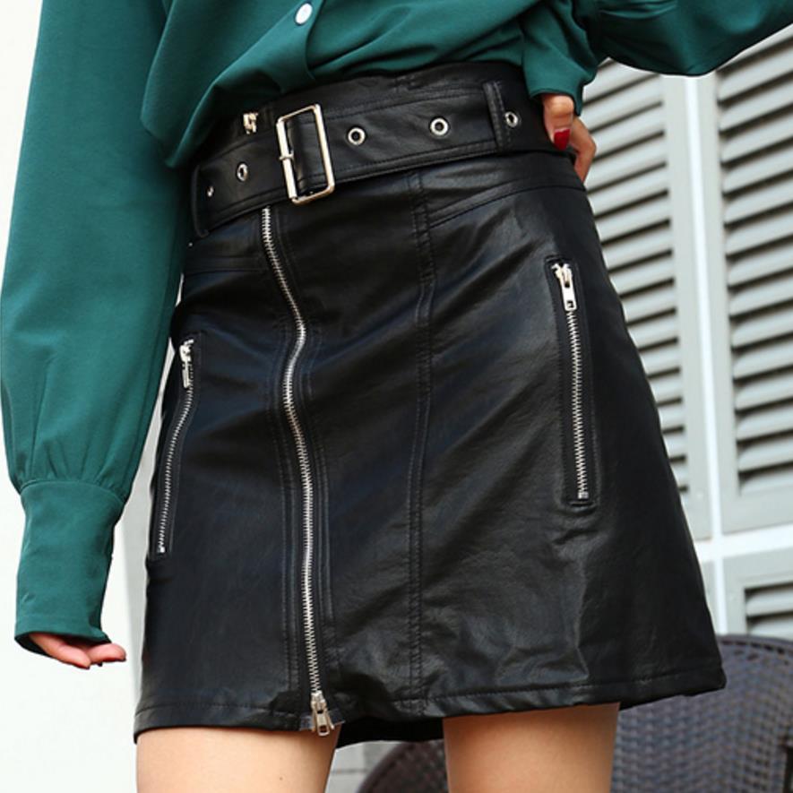 2018 Autumn Winter Women Skirt PU Leather Sexy Mini Skirt Zipper A line Package Hip High Waist