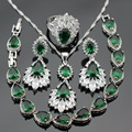 Women Silver Color Jewelry Sets Green Created Emerald White CZ Necklace Pendant Bracelets Earrings Rings Free Gift Box