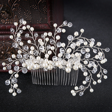Silver Trendy Crystal Pearl Flower Wedding Hair Comb tiara Hair Jewelry Women Comb Bride Hair Accessories Wedding Headpieces