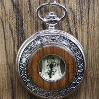 Brons Antiek Zilver Legering Case Hout Zakhorloge Unisex Mechanische Hand kronkelende Horloge Xmas Gift #102314