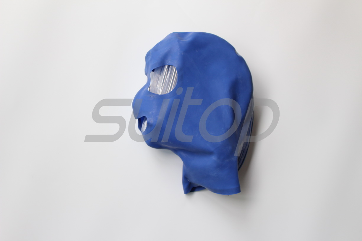 New Men's Suitop latex Hoods rubber mask for adult in blue