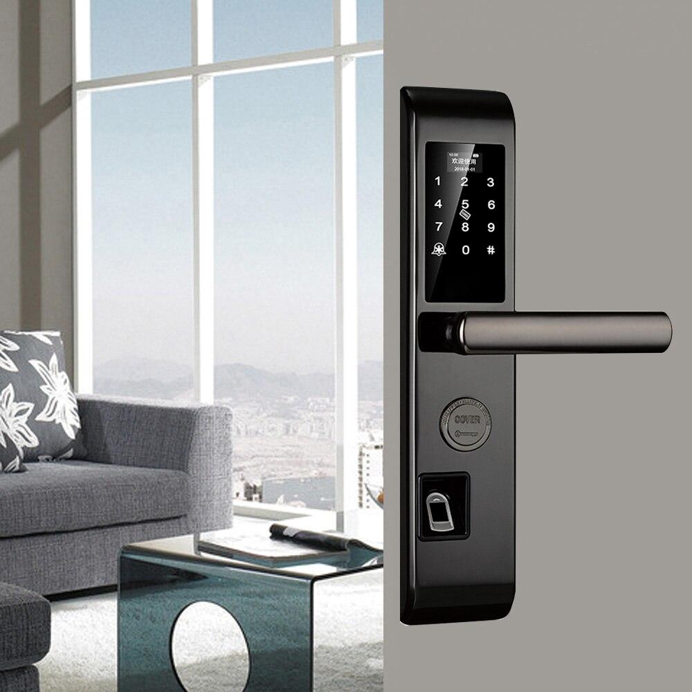 Serrure de porte intelligente électronique d'empreintes digitales contrôle de serrure de porte numérique sans clé serrure de porte biométrique clavier Double face serrure de porte