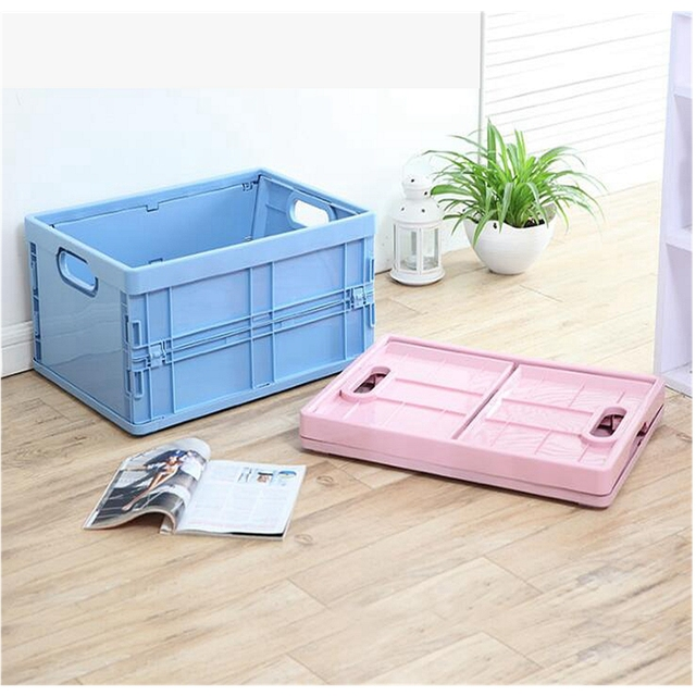 Plastic Foldable Toy Storage Box Collapsible Storage Bin Basket Easy Food  Clothes Storage Save Space Office