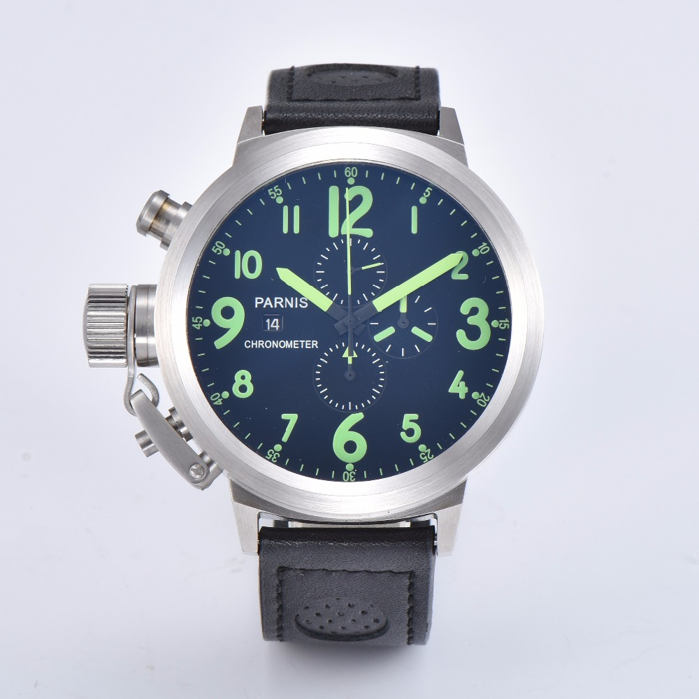 Parnis  clock 50mm brushed solid 316L stainless steel mens watch quartz movement leather strap  A1-05Parnis  clock 50mm brushed solid 316L stainless steel mens watch quartz movement leather strap  A1-05