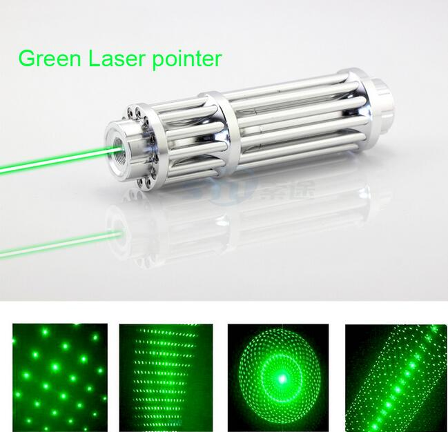 High Power Green Laser Pointer Pen 532nm 50000m focus burning matches Military Zoomable Burning Beam +5 laser heads