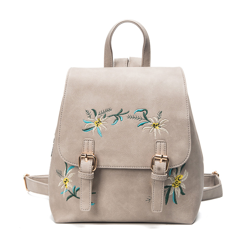 UNstyle Fashion Floral Pu Leather Backpack Women Embroidery School Bag For Teenage Girls Brand Ladies Small Backpacks BP053 gliya 2016 summer women backpack korean floral metal deoration pu leather backpack fashion women small green school bag g15283