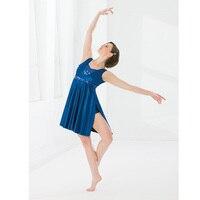 Blue Ballet Short Soft Dress For Adult Or Children, Shining Beads Ballet Costumes Skirt Modern Ballet New Jazz Free Ship