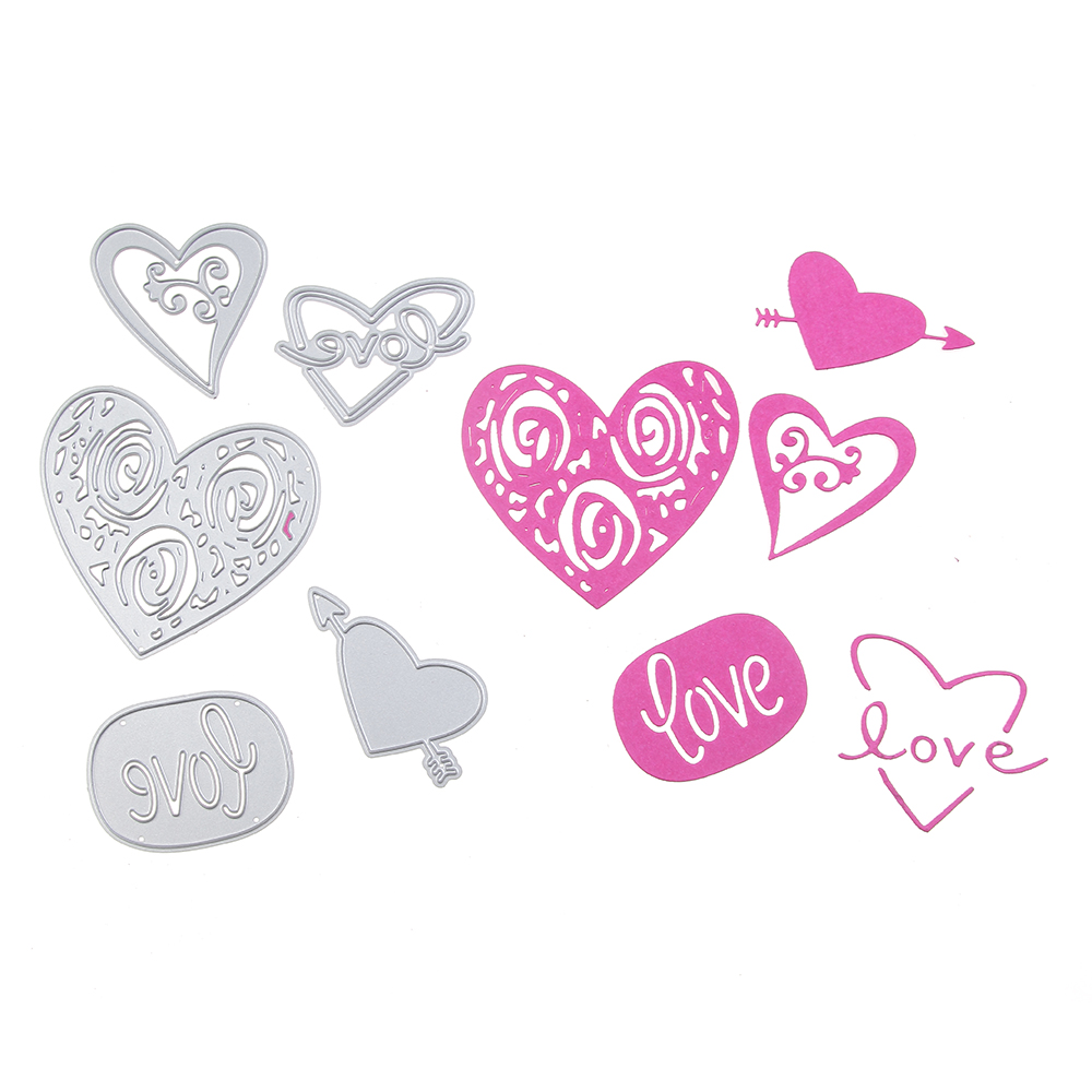 Swovo Heart Love Set Metal Cutting Dies Stencils for DIY Scrapbook Photo Album Paper Card Decorative Craft Embossing Die
