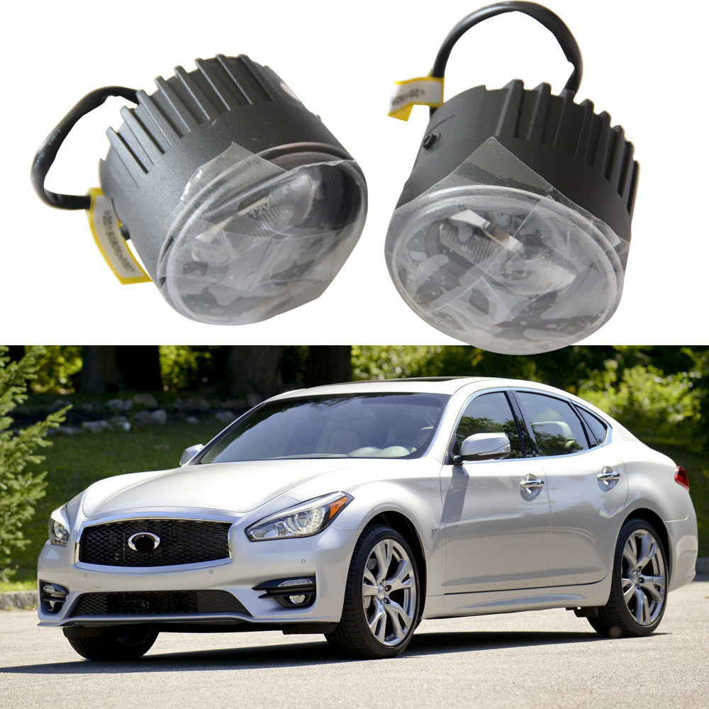 White LED DRL Daytime Running Light Fog Lamp Drving Light for Infiniti M37 M56 Q70 G25 G37 Q60 EX35 EX37 QX50 FX35 FX45 FX50 QX7 for infiniti fx35 37 45 50 ex35 37 h11 wiring harness sockets wire connector switch 2 fog lights drl front bumper led lamp