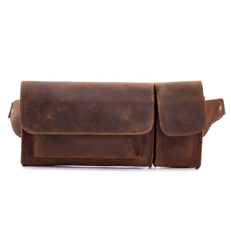 Male Waist bags Genuine Leather Men Fanny Pouch Crazy Horse Vintage Belt Hip Chest Bag Sling