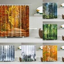 1 шт. осенний лес водонепроницаемый занавеска для душа пейзаж Печатный экран Ванная комната украшения Cortina De Bano для ванной шторы подарок
