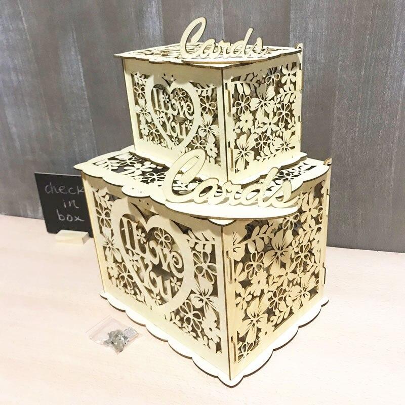 "New DIY wooden card box ,""I Love You"" wedding card box ..."