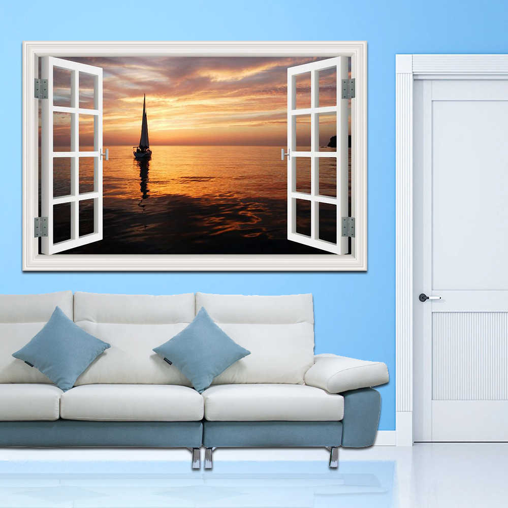 يبحر قارب على البحر عالية الجودة 3d جدار الفن إزالة جدار ملصقا نافذة عرض الشراعية البحر المشهد الإبداعي الرئيسية ديكور