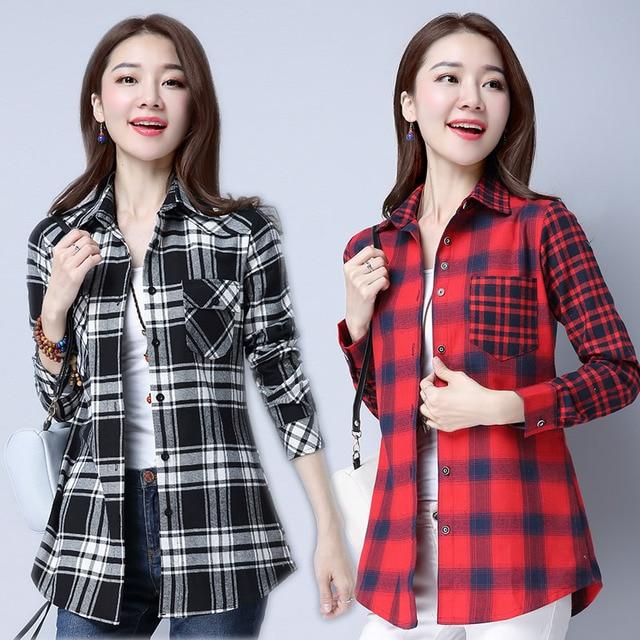 e4dacf54 2018 New Plaid Shirt Women Long Sleeve Spring Korean Preppy Style Blouse  Peter Pan Collar Work Tops