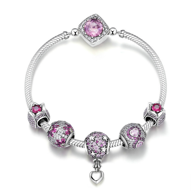 925 Sterling Silver Pink CZ Infinity Flower Hot Air Balloon Bracelets & Bangles for Women Silver Jewelry SCB803 BAMOER925 Sterling Silver Pink CZ Infinity Flower Hot Air Balloon Bracelets & Bangles for Women Silver Jewelry SCB803 BAMOER