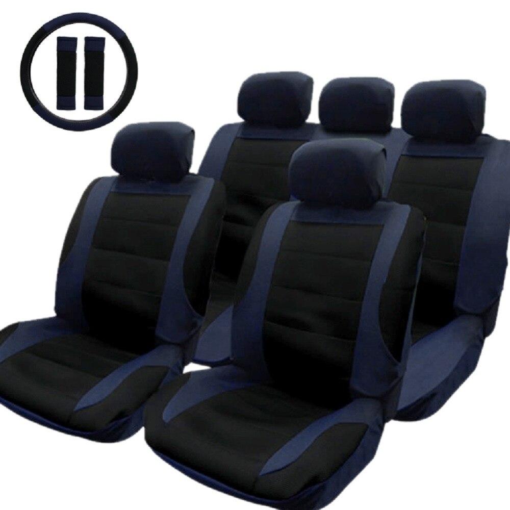 Tirol T21806 B New Car Seat Cover Black Blue 14pcs Set Car