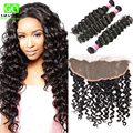 7a Brazilian Deep Wave With Frontal Closure Ali Hair 13x4 Lace Frontal With Bundles Deep  Wave Virgin Human Hair with Closure