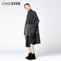CHICEVER Patchwork Striped Fake Two Piece Dress Female Long Sleeve Loose Big Size High Collar Women