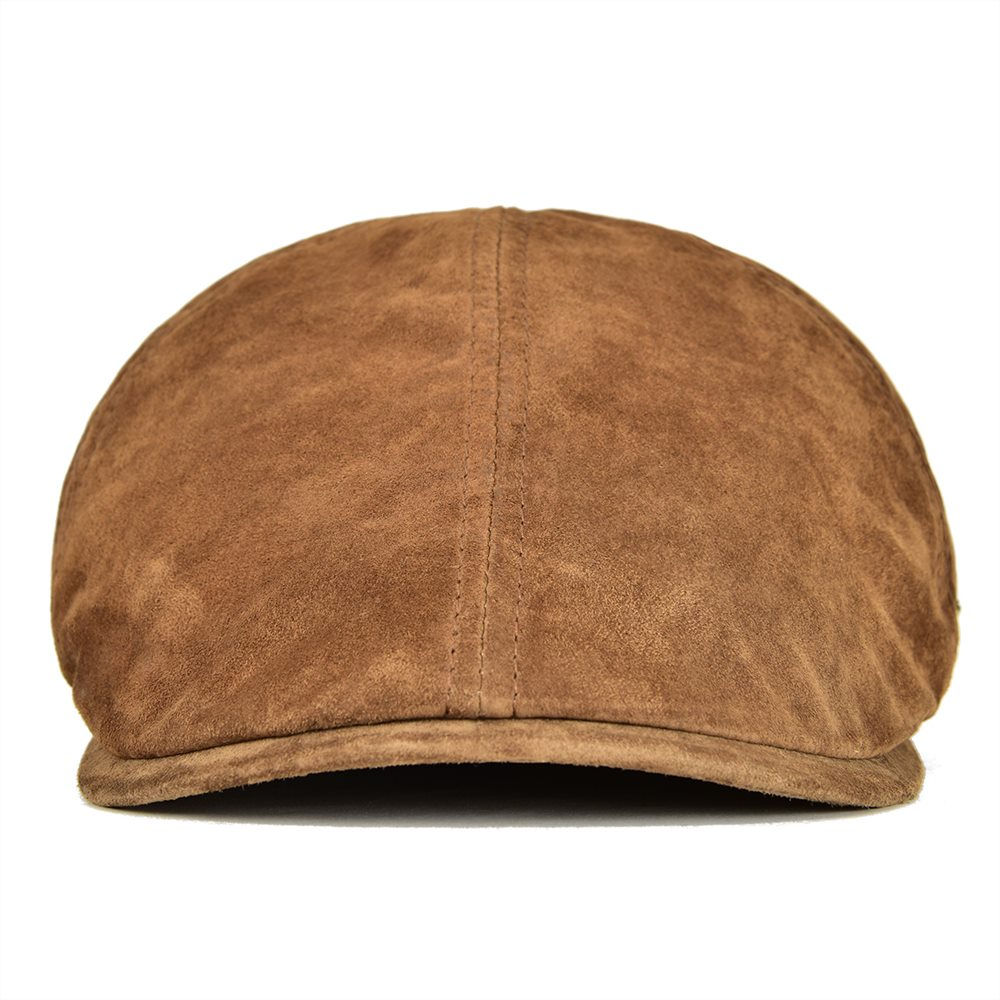 Suede Leather Newsboy Cap Men Women Frosted Nubuck Pigskin 8 Panel Gatsby Baker Hat with Lining
