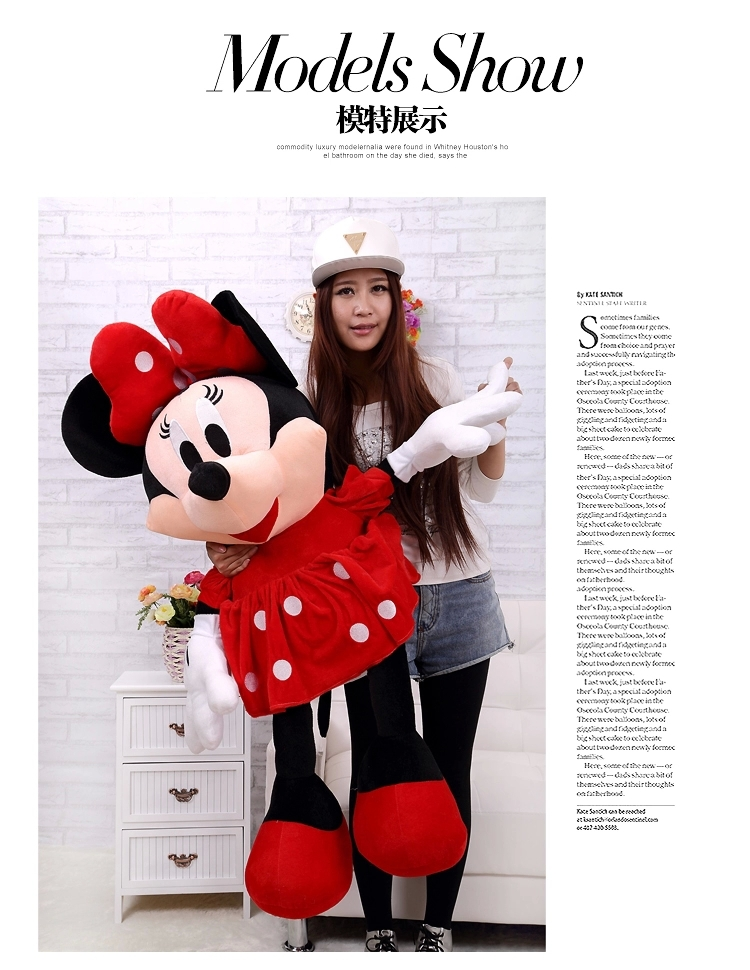 about 100 cm female Minnie plush toy lovely red beautiful skirt minnie doll , girlfriend gift b4331