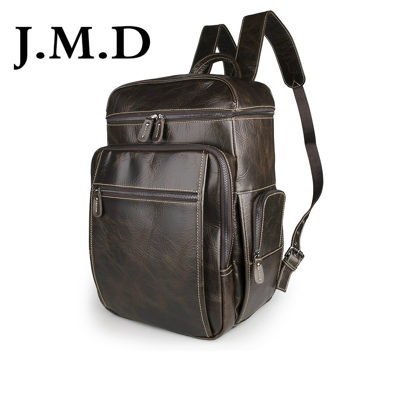J.M.D 2017 New High Quality 100% Real Cow Leather Chocolate Color Men's Backpacks Tote Designs Large Travel Bag 7202B