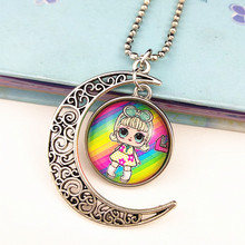 24pcs  New design surprise dolls cartoon necklace glass Crescent Moon pandent Jewelry series for girls best gift wholesale