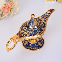 Vintage Metal Aladdin's Magic lamp Figurines tin alloy retro Tea Pot lamp Miniatures Kids Christmas Toys gifts decoration crafts