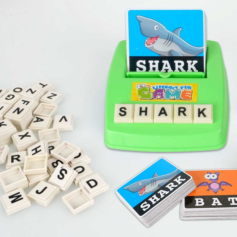 Children Learning English Word Puzzle Spelling Game Picture Flash Card Early Educational Toys For Baby Kids Gift -17 8 @ M09