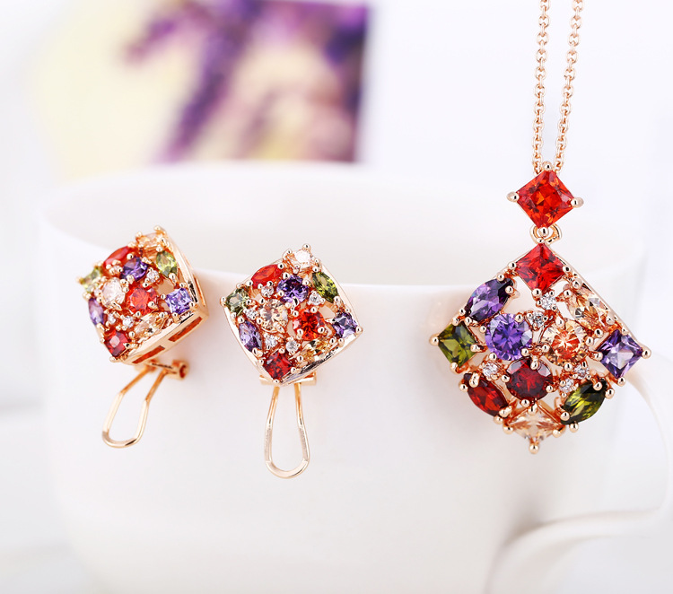 trendy Multicolor Square ear cuff Earrings/ Necklaces & Pendants for Women Rose gold color CZ Jewelry Sets Wedding delicate rhinestone filigree butterfly solid color ear cuff for women