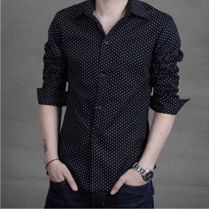 LiberationYu Store L G 2017 Hot Sale Korean Men's Fashion Wave Point Men's Casual Slim Long Sleeved Men Shirt Turn-down Collar Mens Shirt