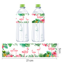 Omilut 12 Pcs Flamingo Palm Leaf Botol Air Mineral Label Tropis Pesta Dekorasi Pesta Musim Panas Flamingo Nanas Dekorasi(China)