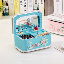 Plastic Music And jewellery Storage Boxes Rotation Dolls Mirror Cosmetic Jewelry Box Home Decor Gift carrossel Music box