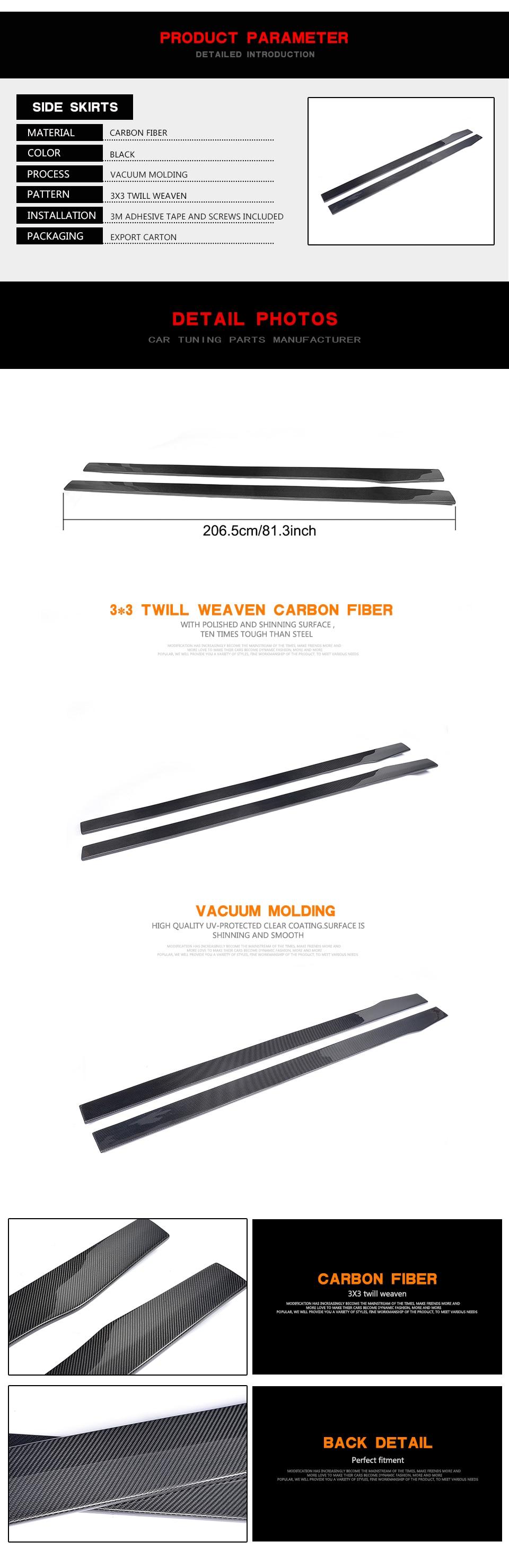 Carbon Faser FRP Auto Seite Röcke Schürzen Lip Extensions für