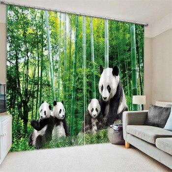 2017 Modern Luxury black white panda Blackout Window Curtains For Kids Bedding room Living room Hotel Drapes Cortinas