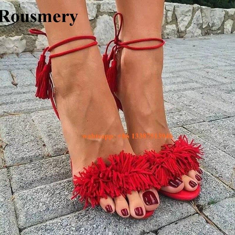 Новые модные летние женские сандалии гладиаторы с открытым носком и кисточками на шнуровке босоножки на высоком каблуке в богемном стиле о