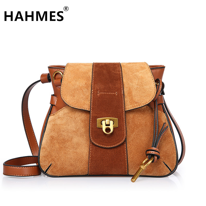 HAHMES 100% Genuine Leather Women Saddle Bags women Fashion shoulder bag female Vintage design small shoulder bag 23cm 10849 hahmes 100