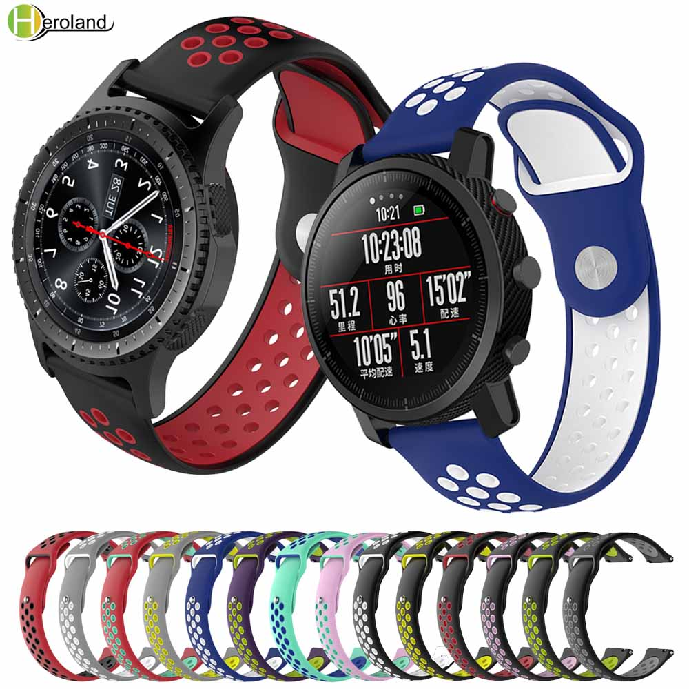 20 22MM Silicone Watch Strap Band For Samsung Gear S3 Sport S2 S4 Galaxy 42 46mm Active Band For Amazfit Stratos 2/2S Watchbands