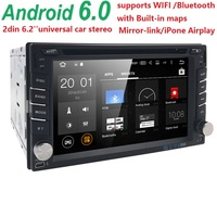 Crazy Sales QuadCore Pure Android6.0 Car PC Tablet Car DVD Player 6.2''GPS Navigation Car Stereo Radio Bluetooth WIFI SWC DAB SD