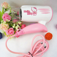 Drop shipping 220V Foldable Cartoon Hello Kitty Hair Drier for girls bathroom product quality birthday gifts girls home supplies
