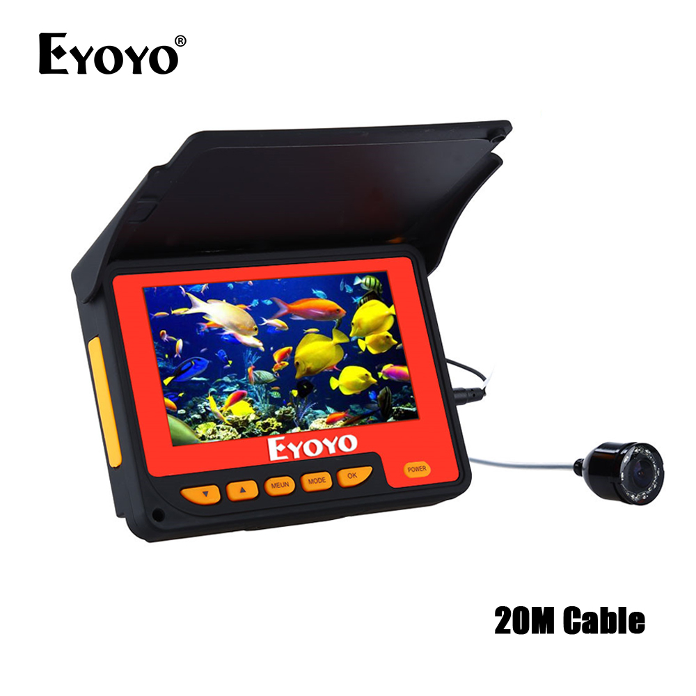 EYOYO F05 4.3 20M Infrared IR Underwater Ocean River Lake Boat Ice Fishing Camera Fish Finder Video Fishfinder Fixed on the Rod eyoyo 930m touch screen infrared hd 1000tvl underwater fishing camera fish finder video fishfinder ocean river sea boat fishing