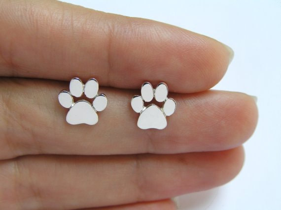 Jisensp Fashion Cute Paw Earrings for Bijoux Piercing Jewelry Boho cepillado gato y perro Print Stud pendientes oorbellen