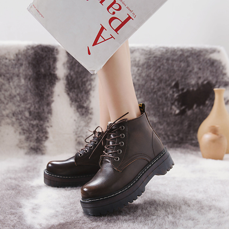 COOTELILI Winter Shoes Rubber-Boots Women 3cm-Heel Lace-Up Ankle Knitted