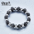 BEIER New Design Cheap Man's Stainless Steel Double Buddha head  ball Bracelet fashion man`s jewerly BC8-033
