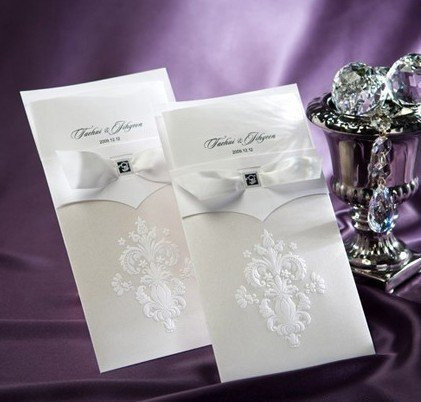 free shipping best quality wedding invitations cards white color 50pcs/lot