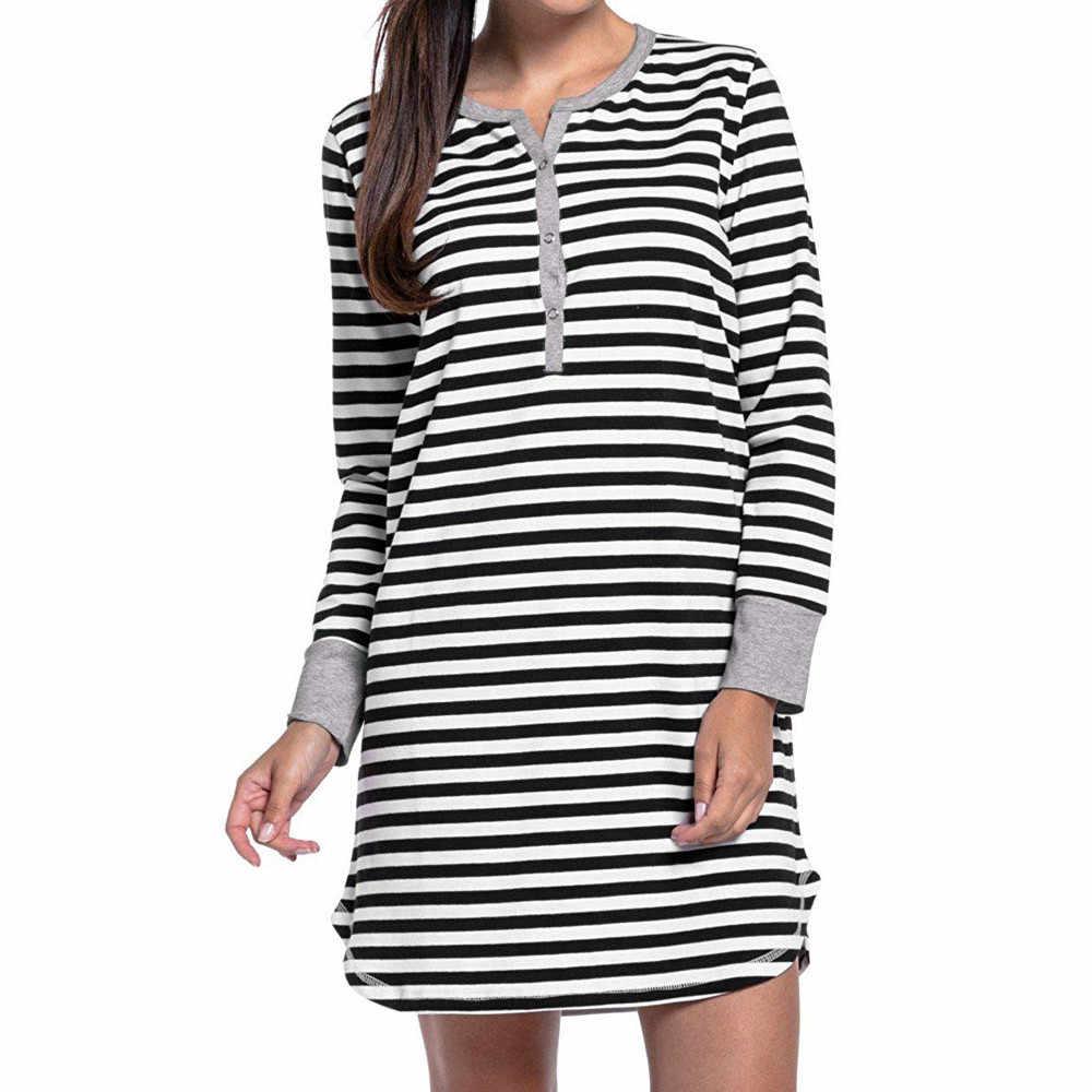 cdacfd02e8 ... Women s Long Sleeve Button Nursing Nightie Stripes Maternity  Breastfeeding Dress plus size maternity clothing top grossesse ...