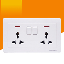 Multifunction Wall Power Socket 2 Gang Litht Switch Double Universal 3 Hole Switches Outlet Dual LED indicator 146mm*86mm White