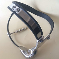 NEW Hot Stainless Steel Male Chastity Belt 3D Arc Waistline Anal Plug Tail Male Chastity Device Breathable Cock Cage for Man
